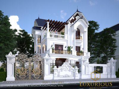 Mẫu thiết kế kiến trúc biệt thự phố tân cổ điển 3 tầng