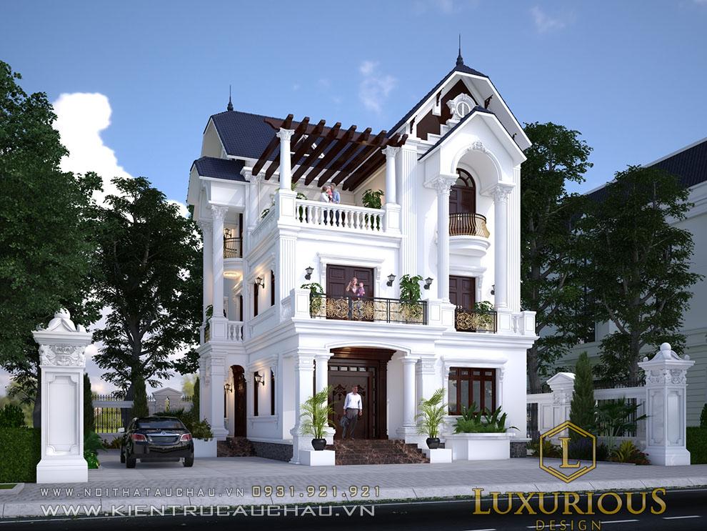 Mặt tiền biệt thự phố đẹp phong cách tân cổ điển