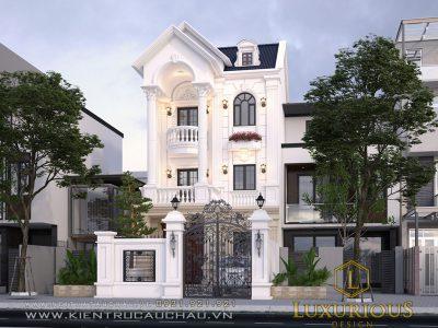 Thiết kế biệt thự phố 3 tầng phong cách tân cổ điển tại Quảng Ninh