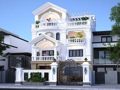 Thiết Kế Biệt Thự Phố 4 tầng Phong cách Tân cổ điển