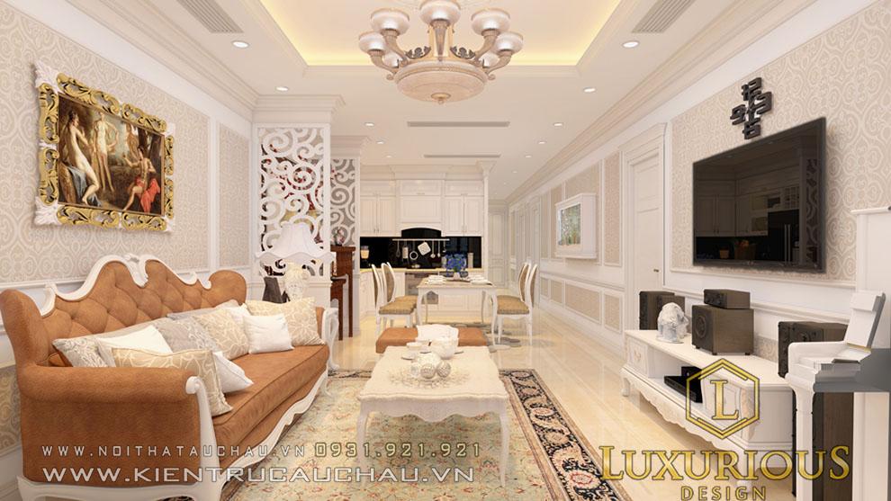 Phòng khách chung cư tân cổ điển