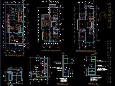 Chia sẻ bản vẽ Autocad Nhà Biệt Thự 2 tầng Full kiến trúc, điện nước
