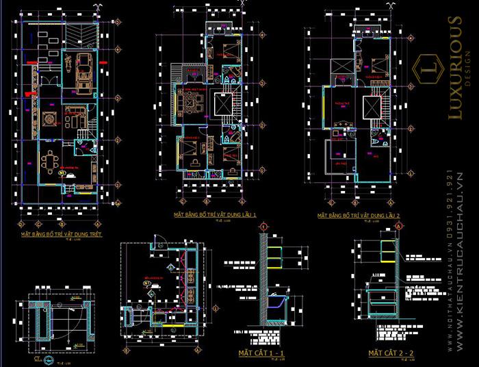 Bản vẽ Autocad biệt thự song lập 2 tầng hiện đại
