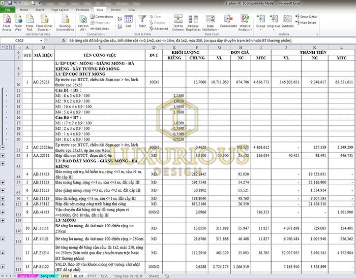 File excel dự toán biệt thự 2 tầng full