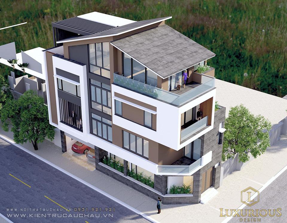 Phối cảnh kiến trúc biệt thự 4 tầng phong cách hiện đại