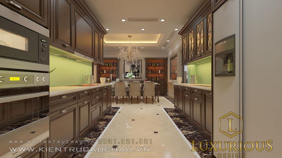 Mẫu phòng bếp tân cổ điển biệt thự