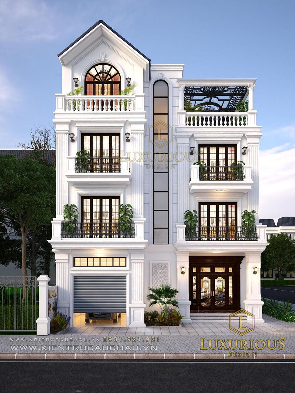 Mẫu thiết kế nhà góc 2 mặt tiền 4 tầng
