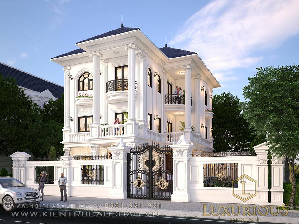 Mẫu thiết kế kiến trúc biệt thự 3 tầng mái thái tân cổ điển