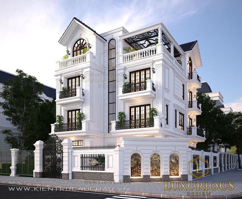 Thiết kế kiến trúc biệt thự nhà phố 4 tầng tân cổ điển