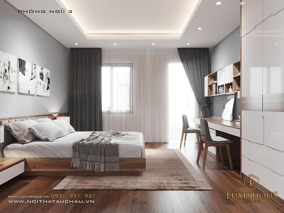 Mẫu thiết kế nội thất phòng ngủ gỗ công nghiệp