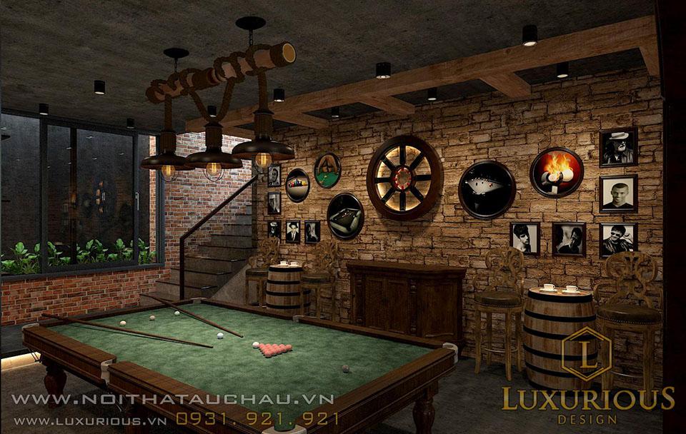 Phòng bida tầng hầm biệt thự