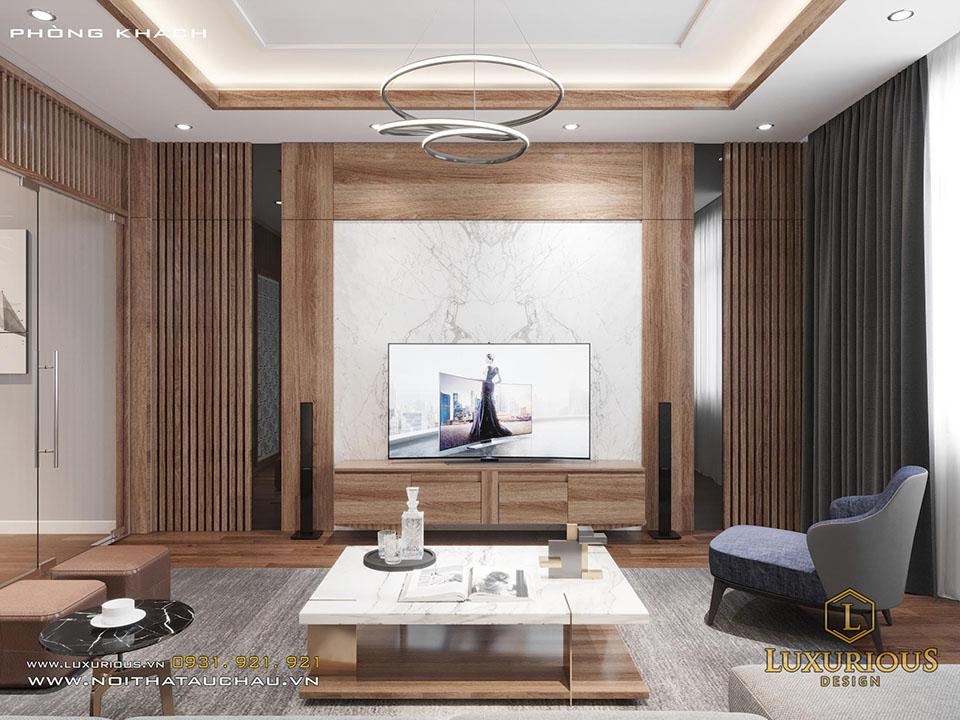 Phòng khách hiện đại gỗ công nghiệp