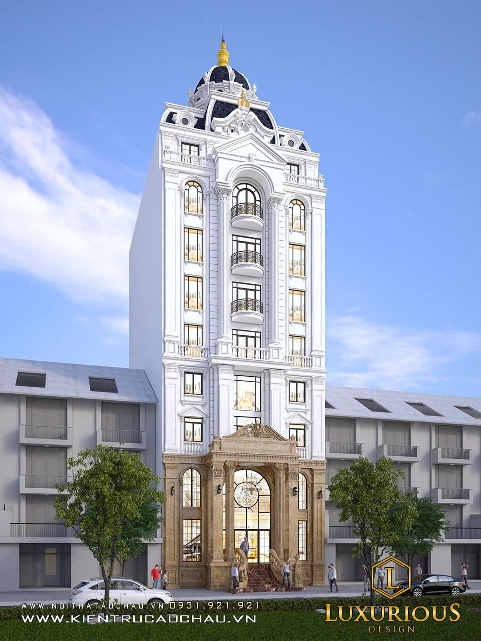 Thiết kế kiến trúc khách sạn 9 tầng tân cổ điển