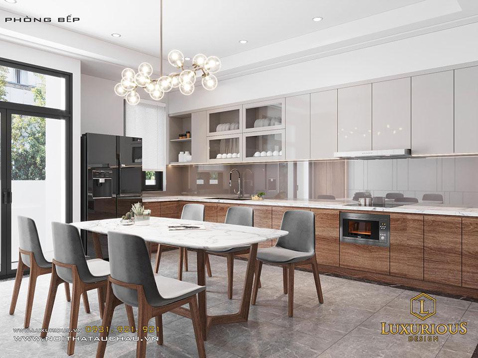 Thiết kế nội thất phòng bếp gỗ công nghiệp đẹp