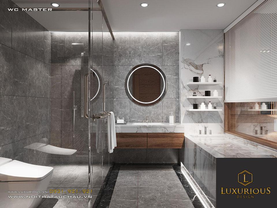 Phòng vệ sinh vách kính hiện đại