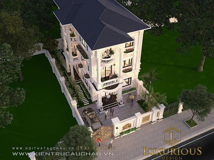 Bản vẽ biệt thự 3 tầng mái thái kiến trúc