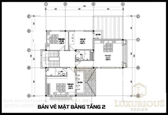 Bản vẽ mặt bằng biệt thự 2 tầng mái thái