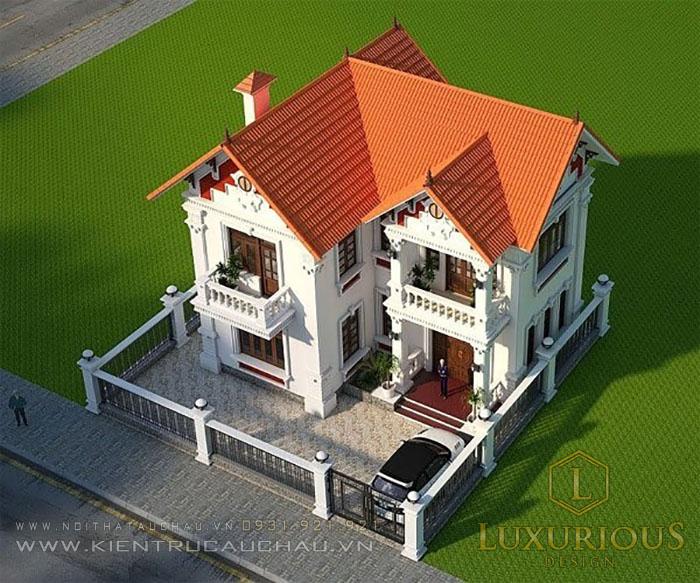 Kiến trúc biệt thự mái thái chữ L