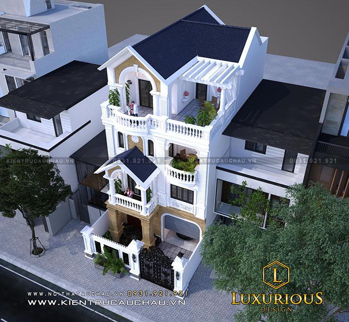 Kiến trúc xây dựng nhà phố đẹp 4 tầng tân cổ điển