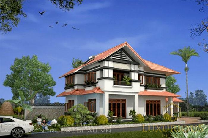 Kiến trúc mẫu biệt thự 2 tầng mái thái kiểu nhà vườn 400m2