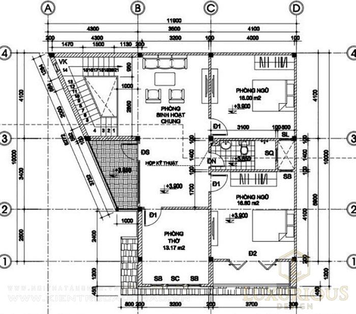 Mặt bằng công năng bố trí tầng 2 biệt thự mái thái 130m2