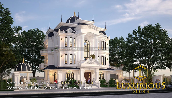 Kiến trúc nhà biệt thự nhìn như một dinh thự lộng lẫy xa hoa