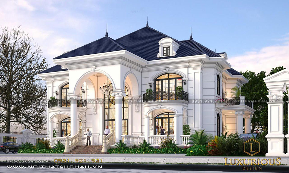 Mẫu thiết kế dinh thự tân cổ điển 2 tầng