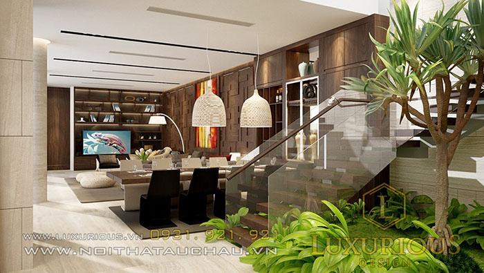 Nội thất phòng khách biệt thự 3 tầng