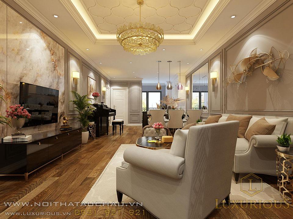 Phòng khách chung cư Diamond Flower tower