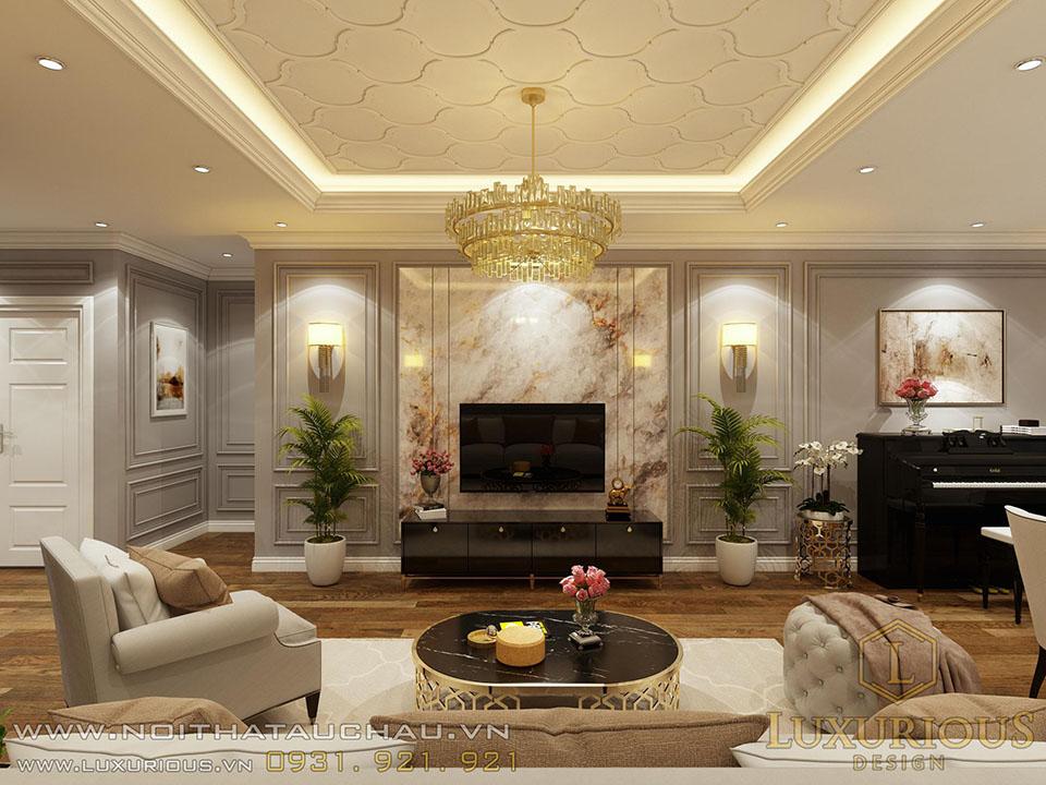 Phòng khách chung cư gồm bộ sofa, kệ TV