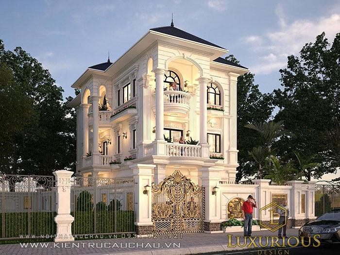 Thiết kế kiến trúc nhà 3 tầng mái thái