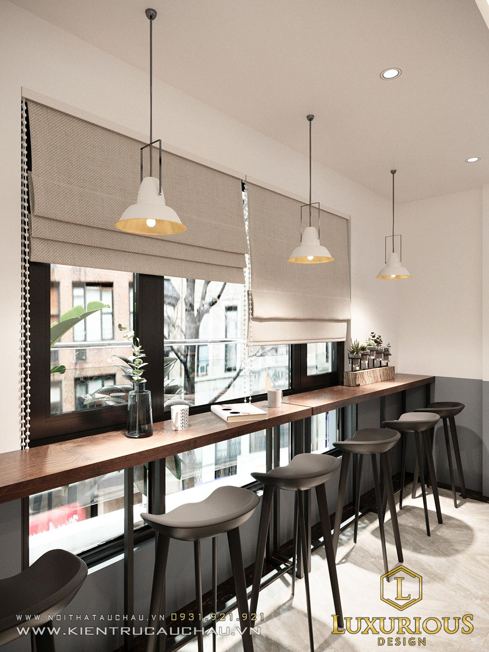 View cafe ban công nhà phố