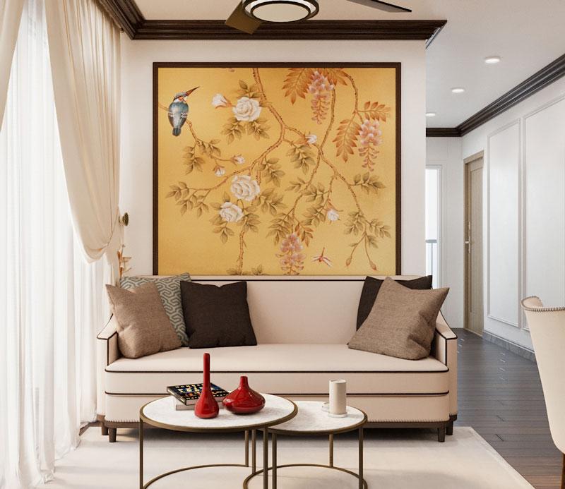 Không gian phòng khách trong căn hộ phong cách Indochine