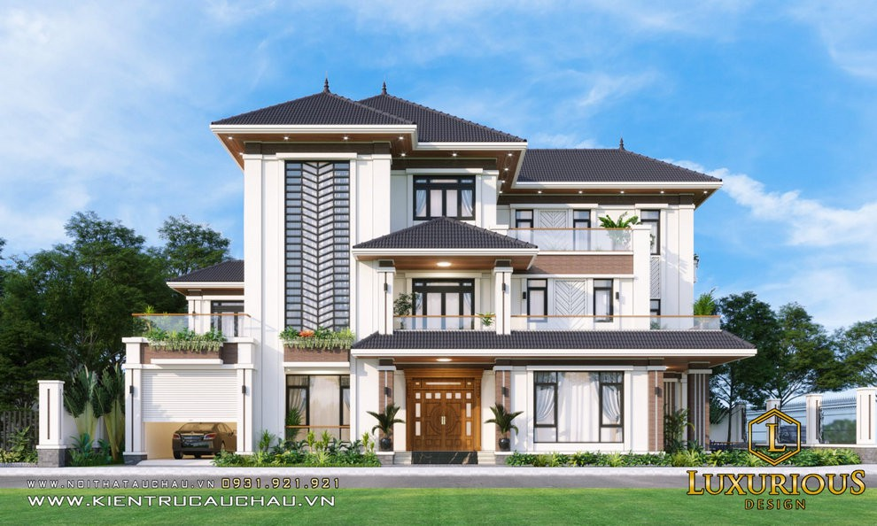 Thiết kế kiến trúc biệt thự phố với thiết kế bề thế mà vẫn rất tinh tế
