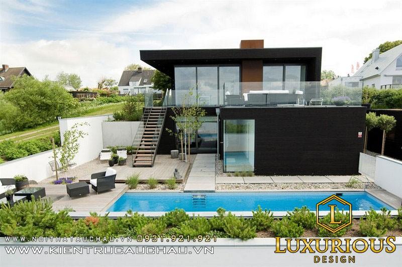 Mẫu thiết kế nhà biệt thự có hồ bơi ngoài sân