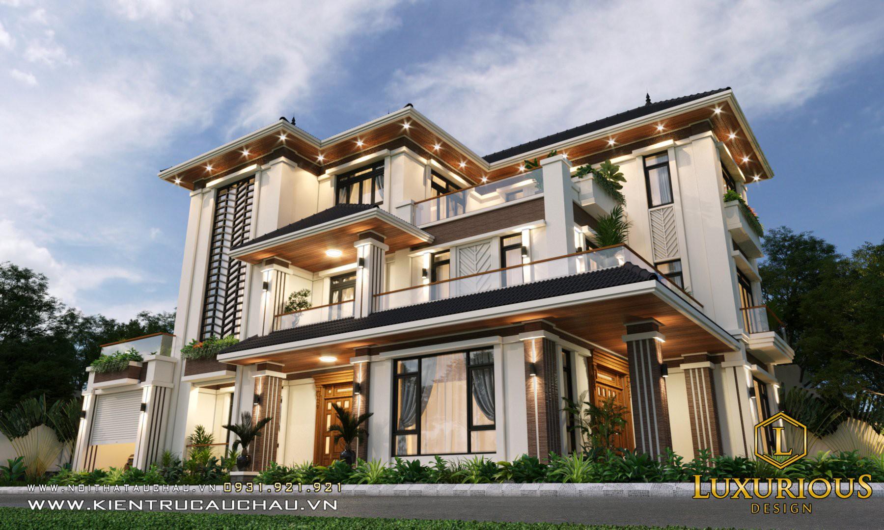 Thiết kế kiến trúc biệt thự phố với hệ thống đèn chiếu sáng được bố trí