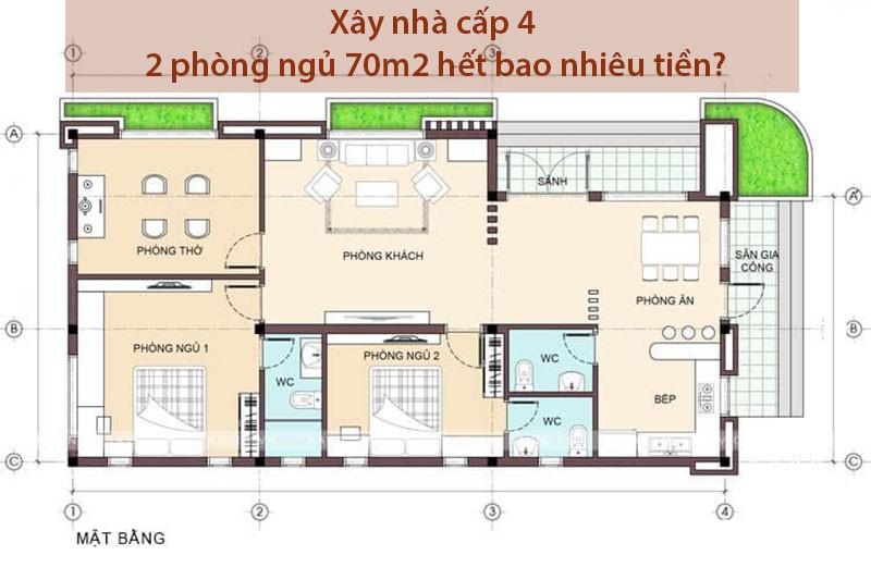 Xây nhà cấp 4 2 phòng ngủ 70m2 hết bao nhiêu tiền?
