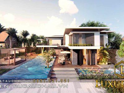 Mẫu thiết kế biệt thự hiện đại có bể bơi đẹp ngất ngây