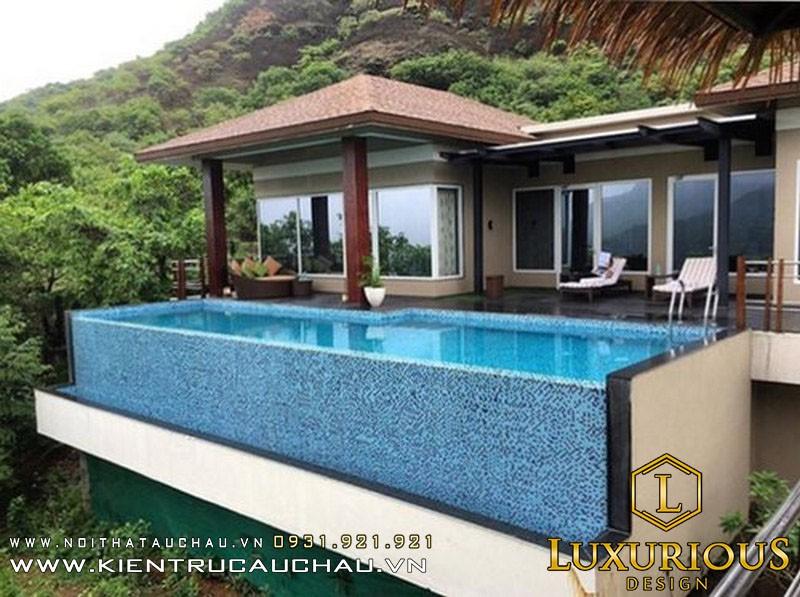 Mẫu thiết kế biệt thự có bể bơi trên tầng thượng