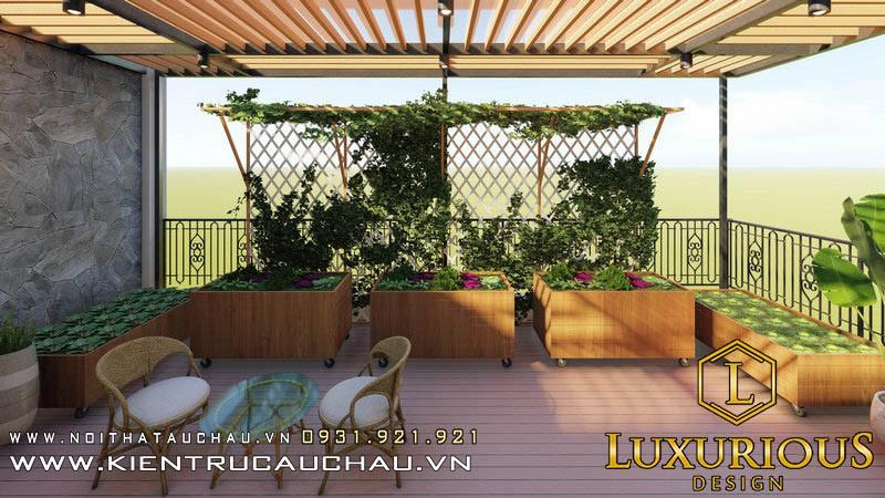 Thiết kế sân vườn Athens Vimefulland trên tầng thượng đẹp