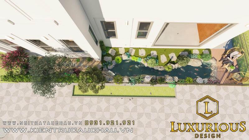 Kiến trúc cảnh quan sân vườn - Hồ cá hiện đại