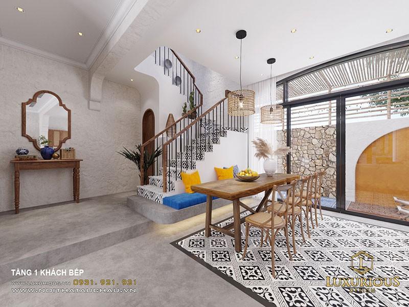 Nội Thất Phòng Ăn Biệt Thự Phong Cách Địa Trung Hải