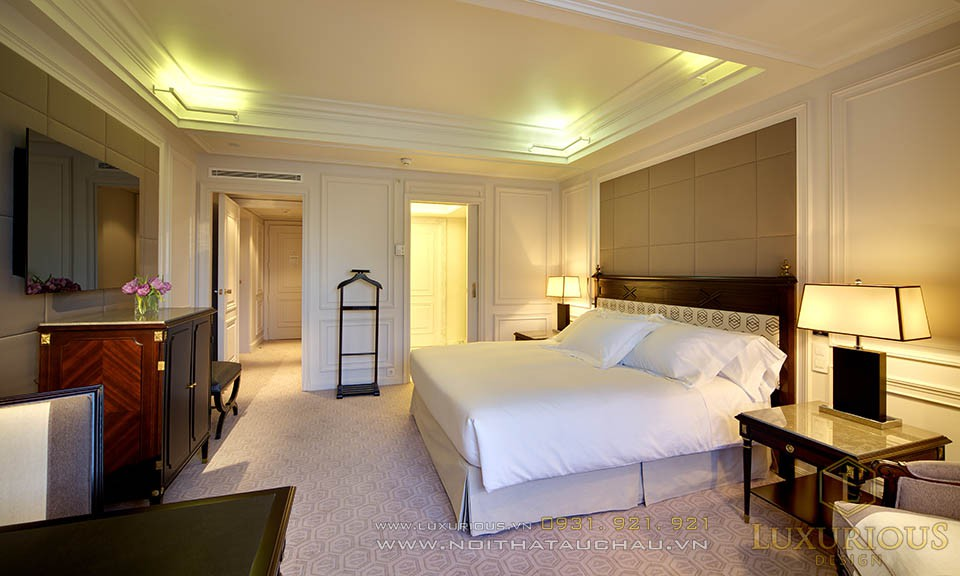 Phòng ngủ khách sạn phong cách tân cổ điển
